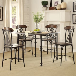 Jayden Contemporary Two-tone Ash Brown And Black Square Counter Height Table