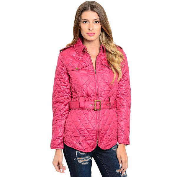 Shop the Trends Women's Long Sleeve Quilted Down Jacket With Waist Belt