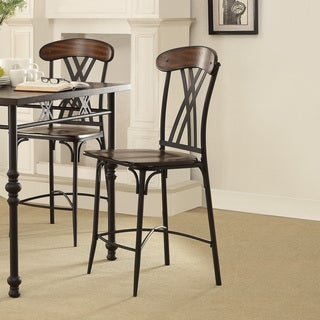 Jayden Contemporary Two-tone Ash Brown And Black Counter Height Dining Chair (Set of 4)