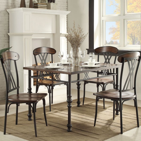Contemporary Two Tone Ash Brown And Black Rectangular Dining Table