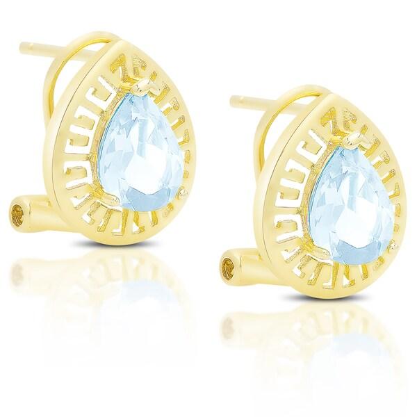 Dolce Giavonna Gold Over Sterling Silver Gemstone Teardrop Omega Back Earrings 16320544