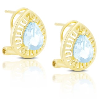 Dolce Giavonna Gold Over Sterling Silver Gemstone Teardrop Omega Back Earrings