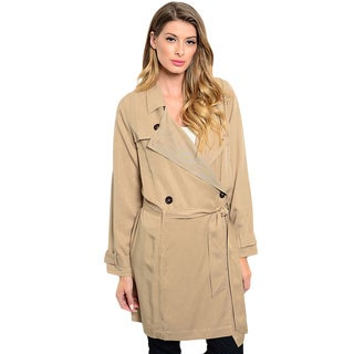 Shop the Trends Women's Long Sleeve Double Breasted Trench Coat With Waist Belt