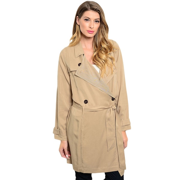 Shop the Trends Women's Long Sleeve Double Breasted Trench Coat With Waist Belt Large Size in Taupe (As Is Item)