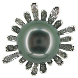 Kabella Luxe 18k White Gold Tahitian Pearl and Diamond Ring (14-15 mm)