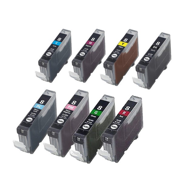 8PK CLI-8 BK C M Y PC PM G R Compatible Inkjet Cartridge For Canon PIXMA 5200 6600D 6700D (Pack of 8)