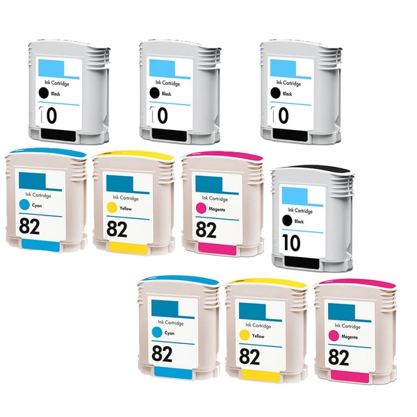 9PK C4844A C4911A - C4913A (HP 82) 4BK 2C 2Y 2M Compatible Ink Cartridge For HP Designjet 1000 1100 800 500 (Pack of 10)