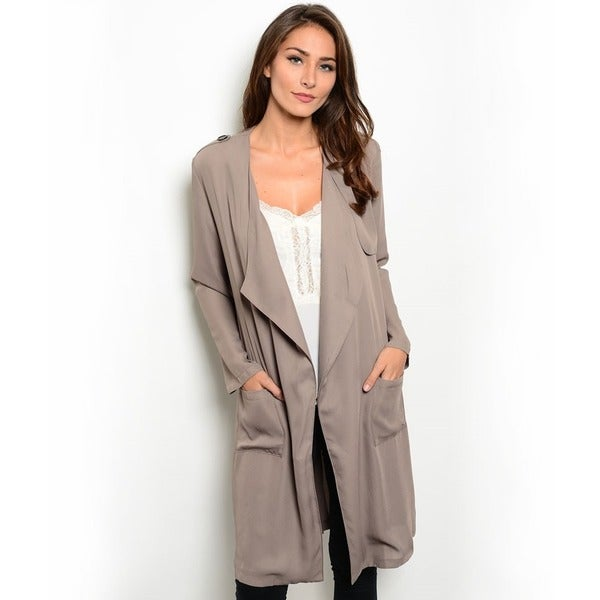 Shop the Trends Women's Lightweight Open Drape Front Trench Coat in Taupe (As Is Item)