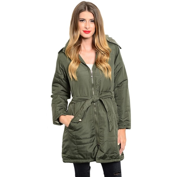 Shop the Trends Women's Long Sleeve Belted Down Coat (As Is Item)