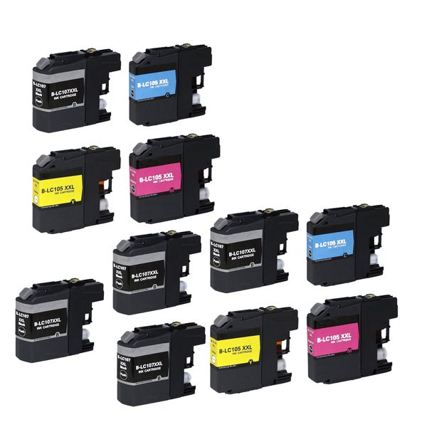 11 PK Compatible LC107 BK XL x 5 LC105 (C M Y) XL x 2 Inkjet Cartridge For Brother MFCAN-J4410 J4110 (Pack of 11)