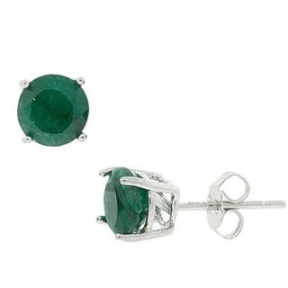 Pori Sterling Silver Round-cut Emerald Gemstone Stud Earrings