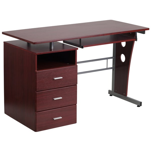 Flash Furniture Mahogany Desk With Three Drawer Pedestal