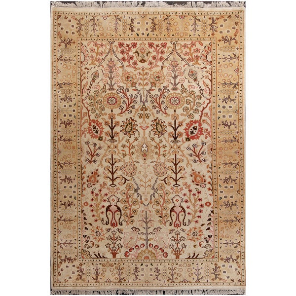 ABC Accents Tree of Life Vegetable Dyed Wool Beige Gold Rug (6' x 9')