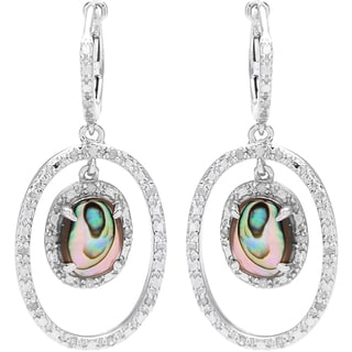 Sterling Silver 1/4ct TDW Diamond and Abalone Orbital Earrings