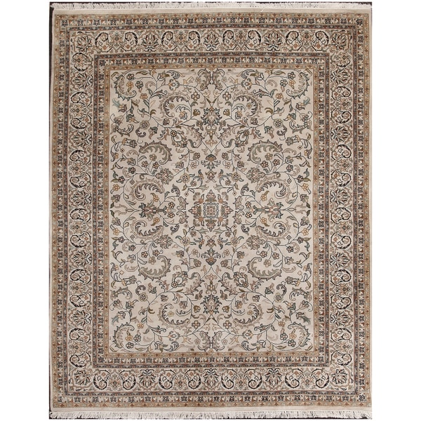 ABC Accents Persian Kashan Ivory Hand-knotted Wool Rug (6' x 9')