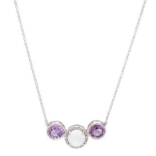 Sterling Silver 1/10ct TDW Diamond and Created Opal Necklace