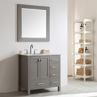 Gela 36-inch Grey Single Vanity with Carrera White Marble Top with Mirror