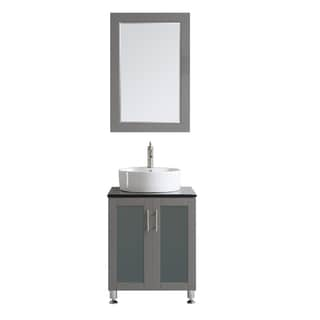 Tuscany 24-inch Grey Single Vanity with White Vessel Sink with Glass Countertop with Mirror