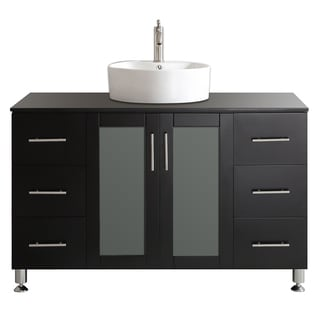 Tuscany 48-inch Espresso Single Vanity with White Vessel Sink with Glass Countertop without Mirror