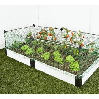 Raised Garden White 1-inch (4' x 8') 2 Level c/w Animal Barrier