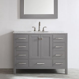 Gela 48-inch Grey Single Vanity with Carrera White Marble Top with Mirror