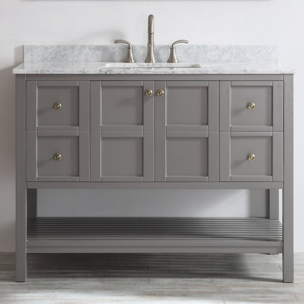 Florence 48 Inch Grey Single Vanity With Carrera White Marble Top Without Mirror