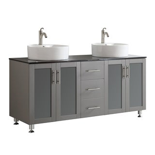 Tuscany 60-inch Grey Double Vanity with White Vessel Sink with Glass Countertop without Mirror