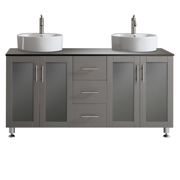 Vinnova Tuscany  Inch Grey Double Vanity With White Vessel Sink With Glass Countertop Without