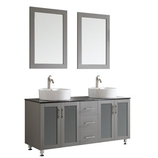 Tuscany 60-inch Grey Double Vanity with White Vessel Sink with Glass Countertop with Mirror