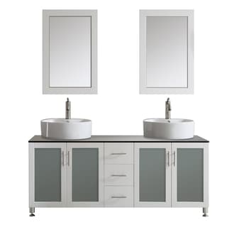 Tuscany 72-inch White Double Vanity with White Vessel Sink with Glass Countertop with Mirror