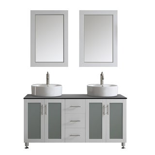 Tuscany 60-inch White Double Vanity with White Vessel Sink with Glass Countertop with Mirror