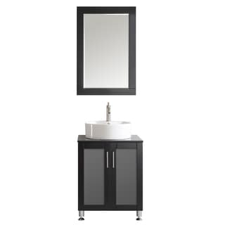 Tuscany 24-inch Espresso Single Vanity with White Vessel Sink with Glass Countertop with Mirror