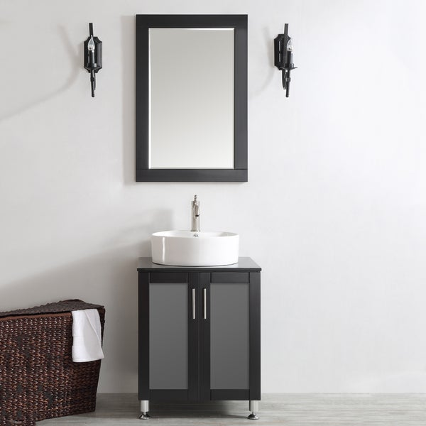 Tuscany Single Vanity With White Vessel Sink Gray
