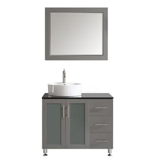 Tuscany 36-inch Grey Single Vanity with White Vessel Sink with Glass Countertop with Mirror