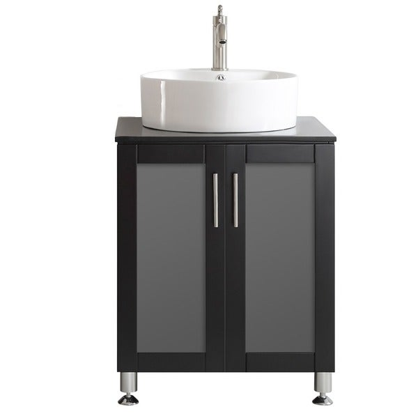 Vinnova Tuscany Four Inch Single Espresso Mirrorless Vanity With White Vessel Sink And Glass