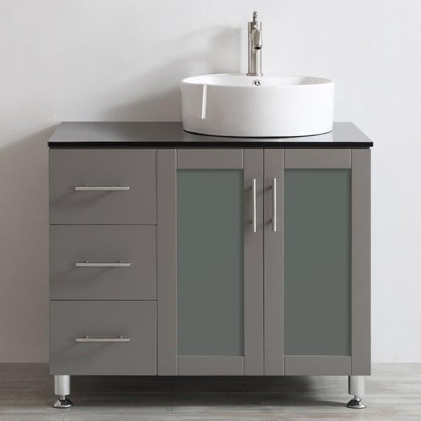 Vessel Sink Vanities Without Sink : ... Vanity with White Vessel Sink with Glass Countertop without Mirror