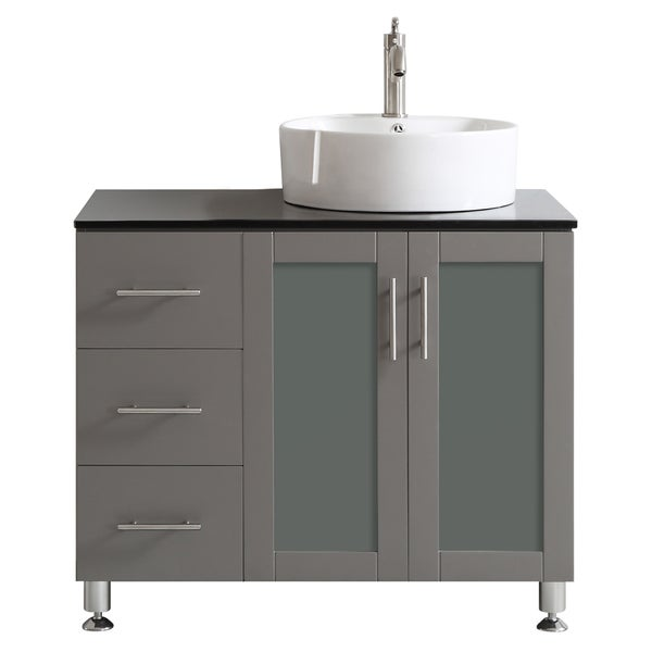 Vinnova Tuscany 36 Inch Grey Single Vanity With White Vessel Sink With Glass Countertop Without