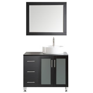 Tuscany 36-inch Espresso Single Vanity with White Vessel Sink with Glass Countertop with Mirror