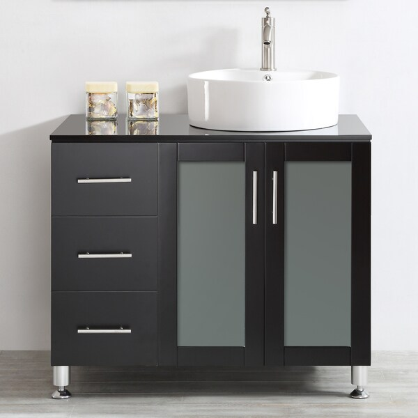 Vessel Sink Vanities Without Sink : ... Vanity in White with White Vessel Sink with Glass Countertop without