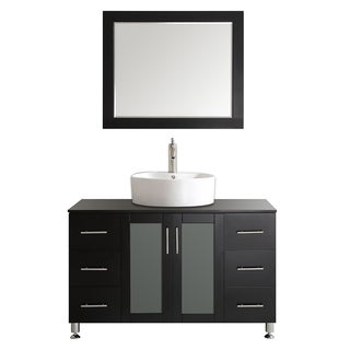 Tuscany 48-inch Espresso Single Vanity with White Vessel Sink with Glass Countertop with Mirror
