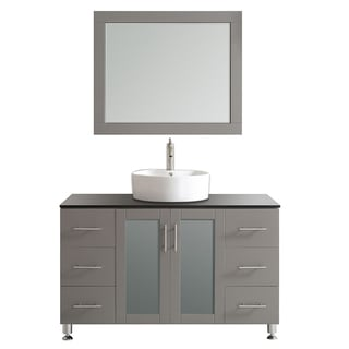 Tuscany 48-inch Grey Single Vanity with White Vessel Sink with Glass Countertop with Mirror
