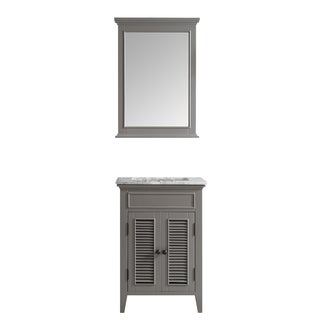 Piedmont 24-inch Grey Single Vanity with Carrera White Marble Top with Mirror