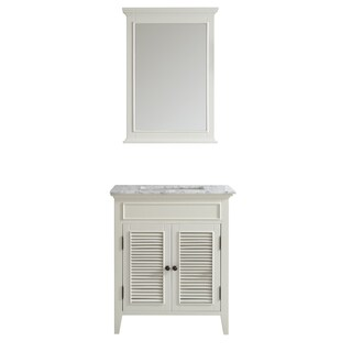 Piedmont 30-inch Antique White Single Vanity with Carrera White Marble Top with Mirror