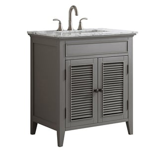 Piedmont 30-inch Grey Single Vanity with with Carrera White Marble Top without Mirror