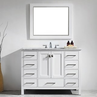 Gela 48-inch White Single Vanity with Carrera White Marble Top with Mirror