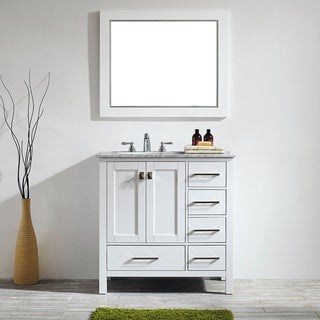 Gela 36-inch White Single Vanity with Carrera White Marble Top with Mirror