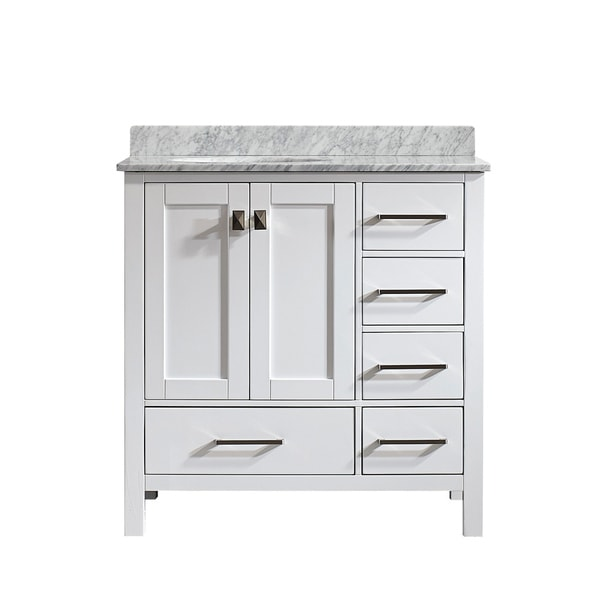 gela 36 inch white single vanity with carrera white marble top without