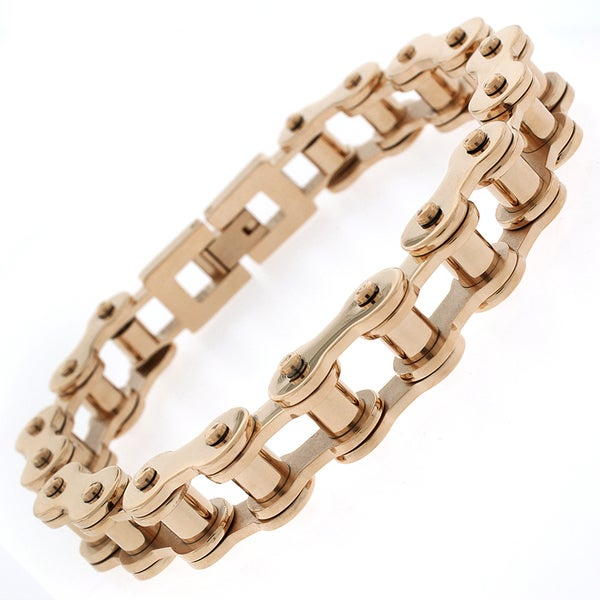 Stainless Steel Mens Rose Goldplated 8.5-inch Bicycle Chain Link Bracelet