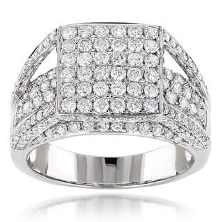 Luxurman 14k White Gold 2 4/5ct TDW Pave Diamond Bridge Ring (G-H, SI1-SI2)