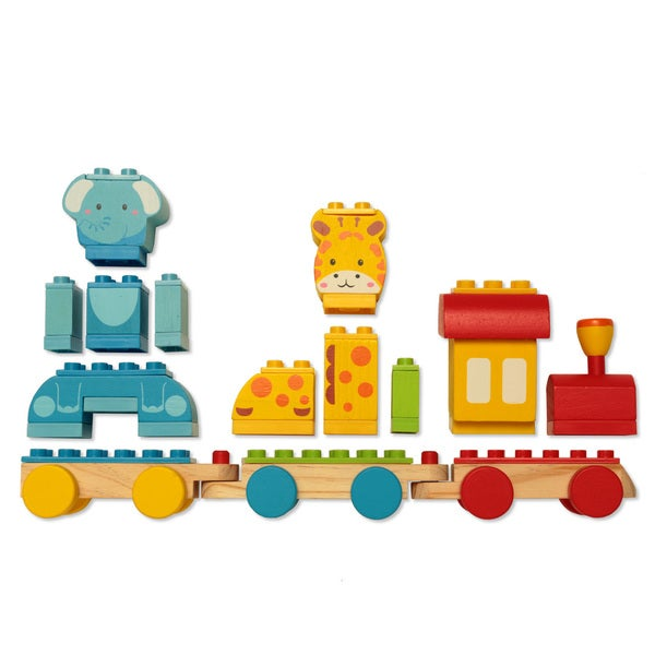 Dream Blocks 14-piece Wooden Animal Train Building Set
